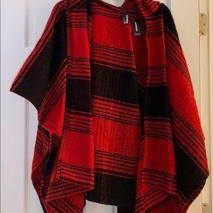 Express Red/Black Poncho